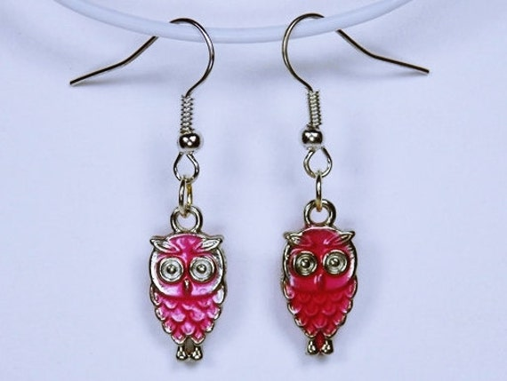 Earrings Owl in pink with silver-coloured earrings owl made of enamel in pink owl bird pendant earrings