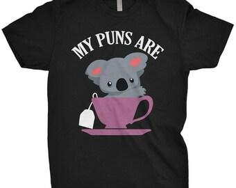 My Puns Are Koala Tea T-Shirt Funny Pun Shirt Humor Cute Tee