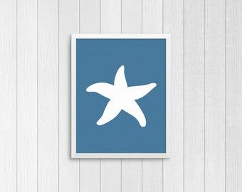 Starfish Silhouette, blue background,  8x10 Art Decor Digital Print