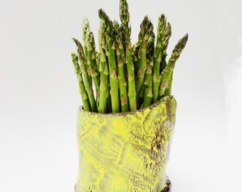 Asparagus Keeper, Utensil Holder, Wine Caddy, Rustic Primitive Pottery , Yellow Brown and Teal, OOAK, Kitchen Spoon Crock, Tool Caddy
