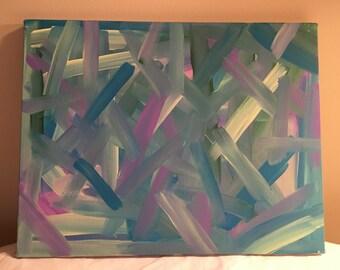 "Aqua, blue & light yellow, abstract acrylic painting, ""Angles"", 14x18"