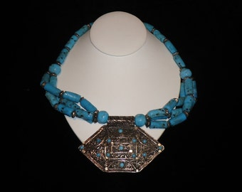 BOHO Gypsy Tribal Collar Necklace Multi Strand Turquoise Glass & Silver Heishi Beads with Medallion c. 1960-70s Fabulous from Rome Italy