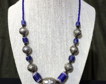 Silver and Blue Chevron Bead Necklace.