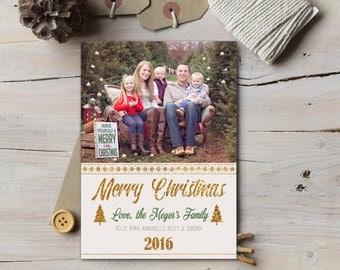Gold Glitter Christmas Card, Photo Christmas Card, Merry Christmas, Xmas, Holiday Card, Photo Card, Printable Photo Card, Gold, Modern