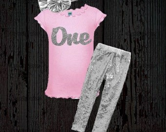 Glitter Birthday Outfit - Pink and Silver Birthday Outfit - Glitter Silver Birthday Shirt