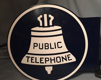 Vintage Public Telephone Double Sided Flange Sign