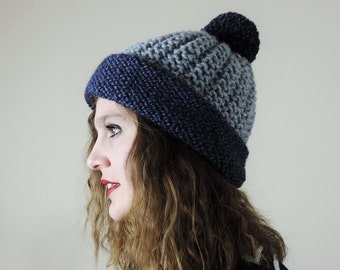 Chunky Pom Pom Hat, Color Block Beanie, Hand Knit Pom Pom Hat, Grayand Blue Winter Beanie, Slouchy Beanie