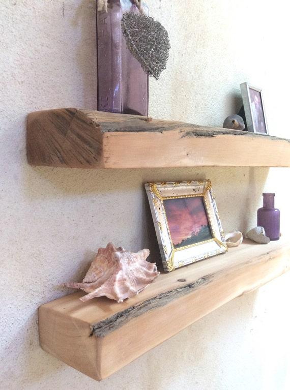 Floating shelves wood coastal decor driftwood style wall for Driftwood wall shelves