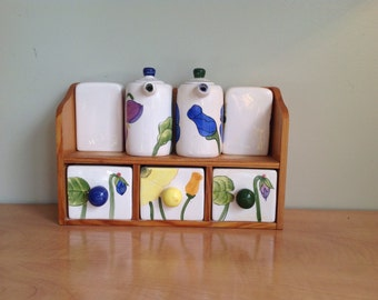 Shelf for spices, salt, pepper and oil porcelain and wood, wooden rack for spices.