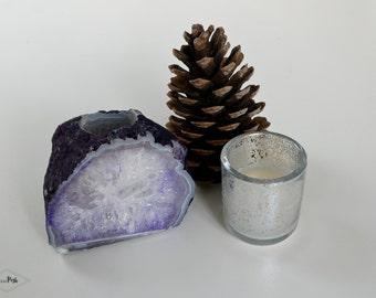 PC01 PURPLE agate candle holder. gemstone candle holder. violet agate home decor. geode stone candle holder tealight
