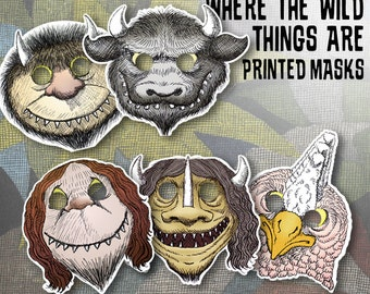 15 PRINTED Where the Wild Things Are Theme Birthday Party Mask Set