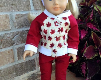 18 Inch Doll Red and White Four Piece Canadian Patriotic Outfit