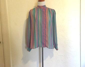 Vintage 1980s High Collar Button Down