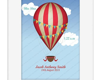 Hot air balloon nursery print, personalized nursery print, baby stats,  new baby,  nursery print, baby shower