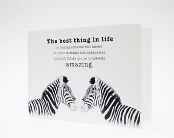 Zebra Card, Wildlife Card, Zebras Card, Cards For Him, Card For Boyfriend, Card For Husband, Black and White Love Quote Card