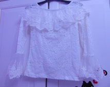 Boho Blouse, Peasant Blouse, Lace Blouse, Lolita Blouse, Off the Shoulder Top, Bohemian Clothing, Victorian Blouse, White Lace Blouse