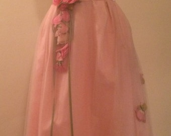 Lovely 1950s Vintage Baby Pink Satin and Tulle 3-D Rose Tea Length Dress