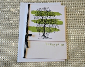 Sympathy Card, Thinking of You Card, Friendship Card, Miss You Card, Tree Silhouette Card with envelope - Dark Green