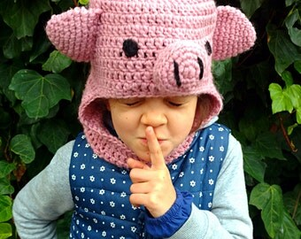 Kids hooded cowl balaclava crochet hoodie scoodie pink crochet pig ears funny beanie photo prop baby shower pig hat cosplay MADE TO ORDER
