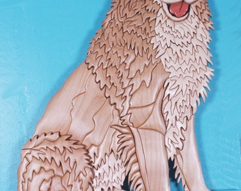 Golden Retriever Wood Intarsia Sculpture