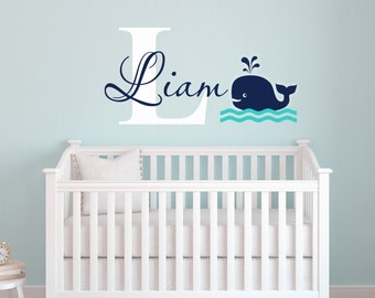 Whale Wall Decal-Name Wall Decal-Nautical Baby Room Decor-Nursery Wall Decals- Boys Nautical Decals-Personalized Name Decals