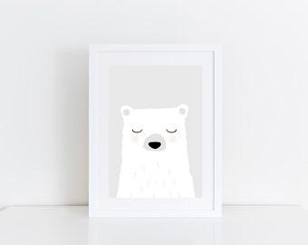 Bear Print Cute Nursery Wall Art White and Gray Nursery Animals Nursery Art Kids Room Print Baby Gift Cute Bear Animal Print Kids Bear Art