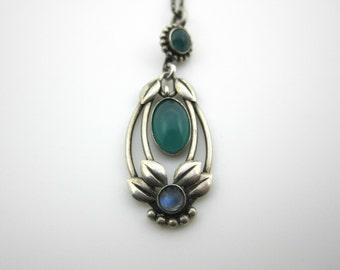Art Nouveau Jugend Antique William Fuglede Silver Chrysopase Moonstone Pendant Necklace Skonvirke Denmark 1910s