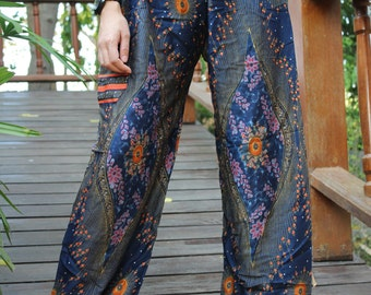 hippie pants hobo pants harem pants peacock pants unisex dark blue