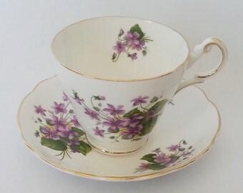 Vintage Regency English China, Regency Teacup and Saucer, Regency Teacup Set Violet Decor, English Teacup Violet Decor, Discontinued Teacup