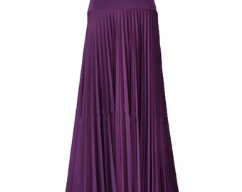 DARK ORCHID  Flare Jersey Pleated Maxi Skirt | Modest Long Skirt | Islamic Clothing S M L XL 2XL 3XL 4XL