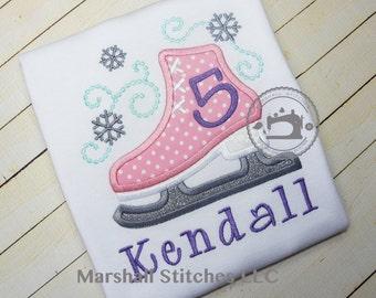 Ice Skate Birthday Shirt 1-2!/ Skating Birthday Shirt/ Skate Applique Birthday Shirt