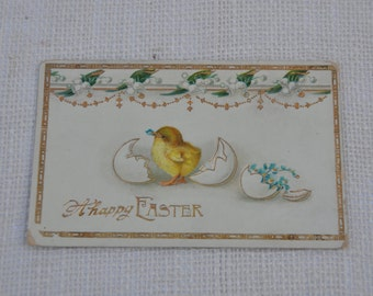 Antique Happy Easter Postcard, Metallic-trimmed, Chick and Flower Postcard, Lily of the Valley, Forget-me-nots - Circa 1920