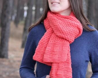 Coral warm knit scarf