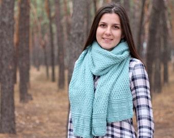 Warm mint scarf - knit winter scarf