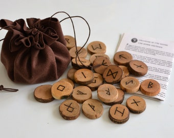 Rune Set Elder Futhark Viking Runes with Faux Leather Pouch Velour Pouch, 25 Wooden Runes Runestones Norse Mythology Wicca Pagan Asatru