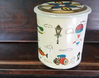 Vintage tin made in Brazil, old fashioned tin, large vintage tin
