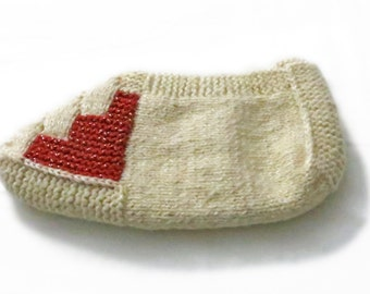 Ivory and Red, Hand-knitted, Women, Bulgarian Slippers
