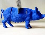 Desk Organizer Blue Pig. Cards holder, notes holder. Blue Pig figurine. 3 slots. Office decoration. Pig 11 x 6,5 cm