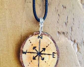 Compass woodslice necklace *boho* *travel* *adventure*