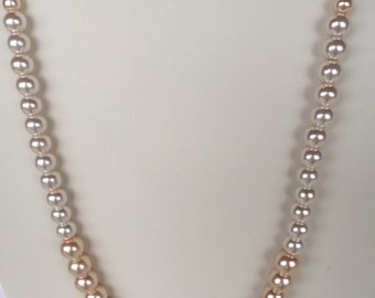 Peach and Cream glass Pearl necklace