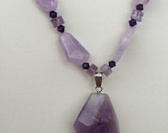 Amethyst Necklace with Purple Quartz Pendant
