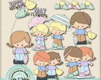 April Showers Clipart, Commercial & Personal Use