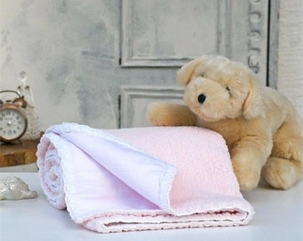 Pink baby blanket,White,blanket for babies,Baby room decor,Soft Baby Blanket,Baby room ideas