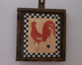 Barnwood framed rooster
