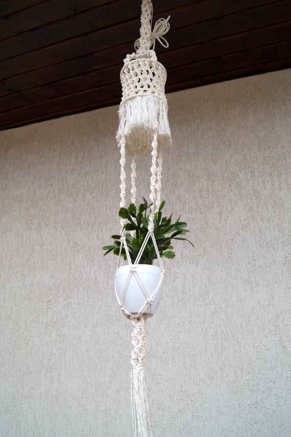 vintage white macrame l and flower pot holder vintage
