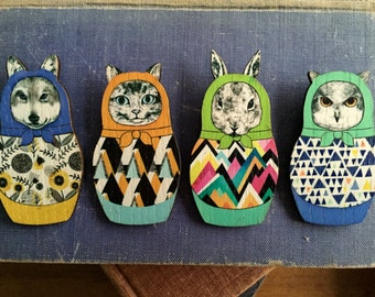 quirky rabbit matryoshka brooch, gift for her
