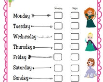I Brushed My Teeth Chore Chart- Princess Theme