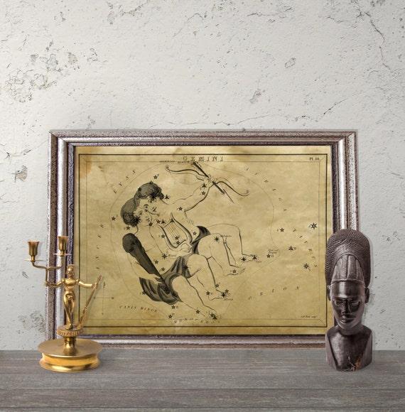 Astronomy Wall Decor Astrological Print Gemini Constellation