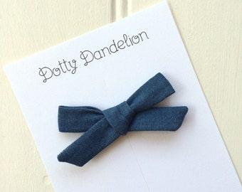 Denim Hair Bow  Denim Hair Clip Girls Denim Bow Denim Hair Accessory Denim Hair Bows Blue Hair Bow Blue Hair Clip