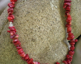 Red Coral Gemstone Nugget Necklace